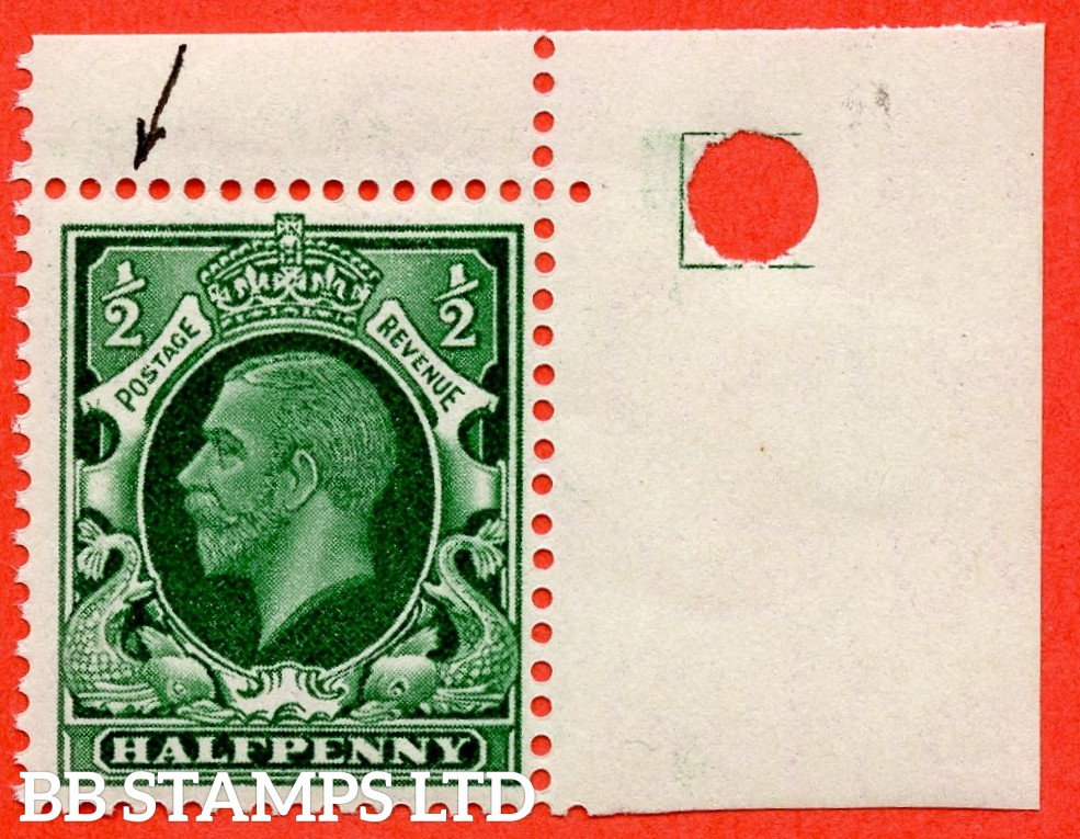 "SG. 439. N47 (1) d. ½d green. SMALL FORMAT "". A fine UNMOUNTED MINT top right hand corner marginal example clearly showing the listed "" Horn variety. Cyl. 36 no dot. Row 1/12 "" variety."