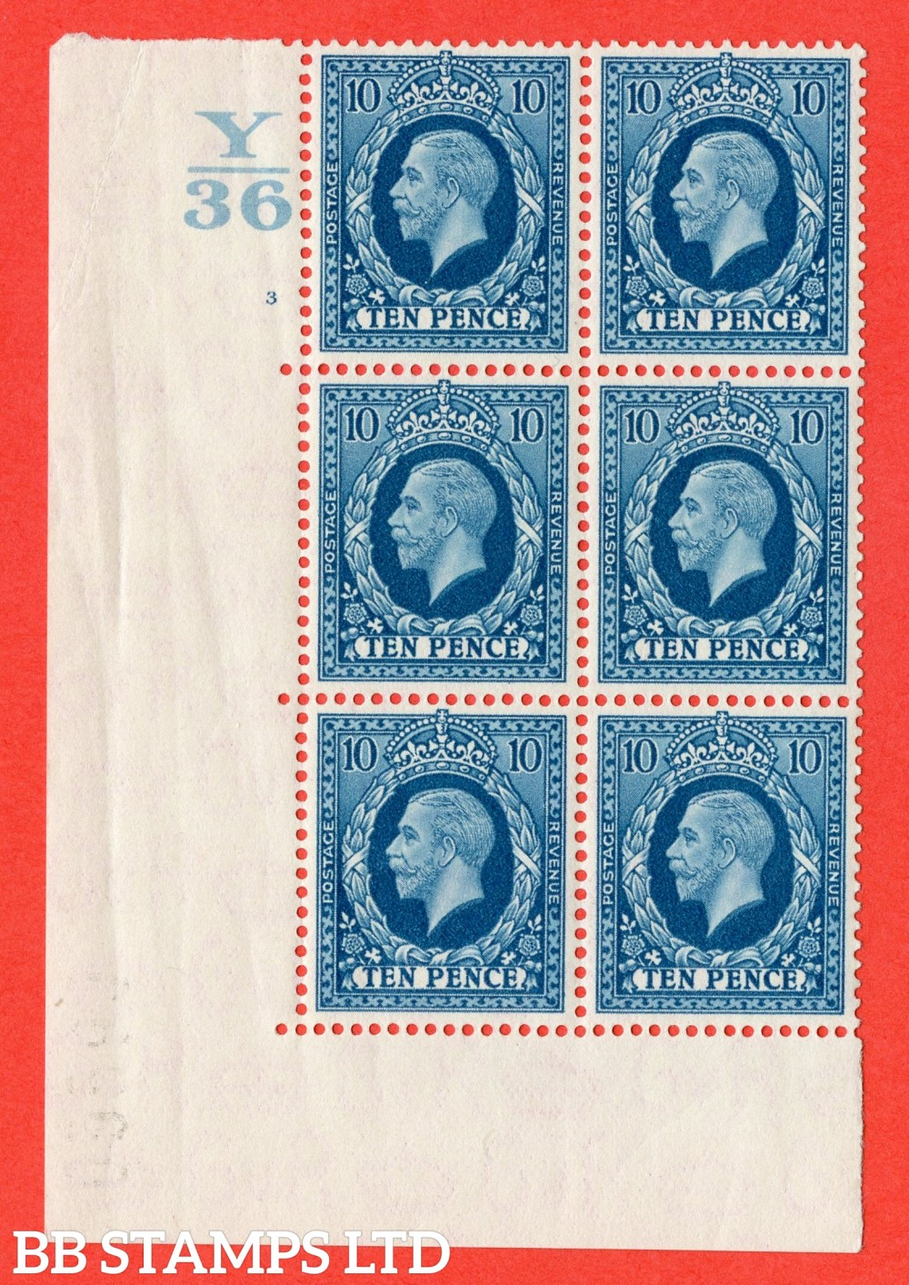 SG. 448. N61. 10d Turquoise-Blue. A very fine mint block of 6. Control Y36. Cylinder 3 no dot perf type 5 E/I.