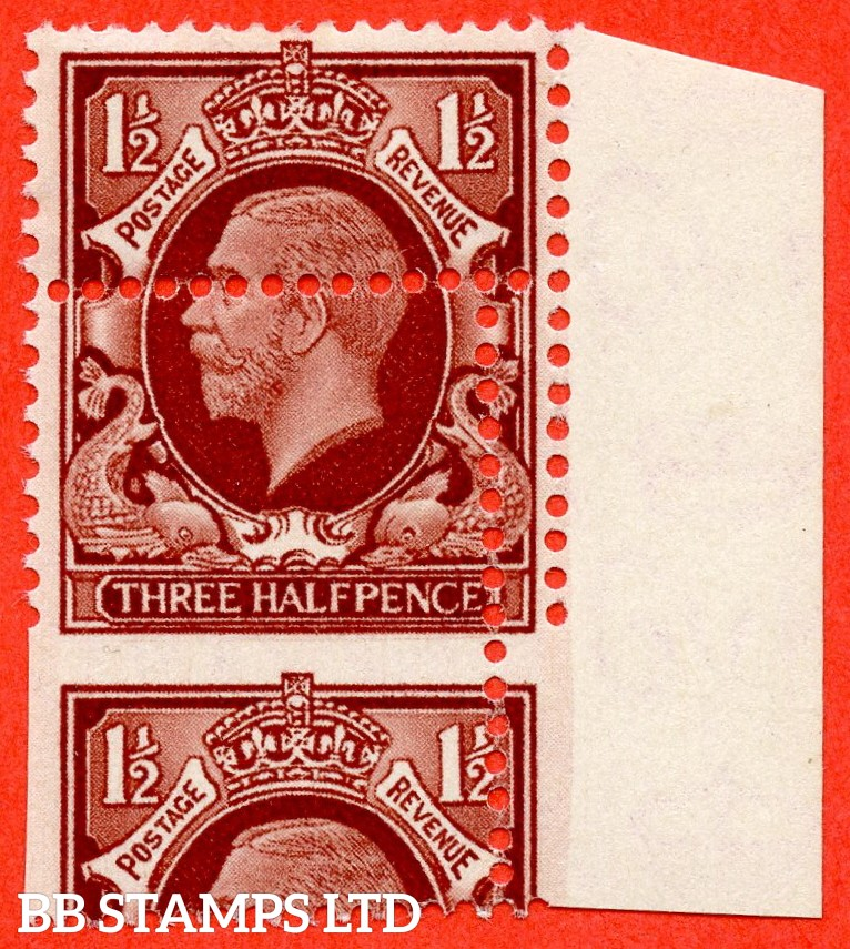 "SG. 441 variety N51a. 1½d Large Format. A super lightly mounted mint right hand marginal vertical pair with a lovely "" MIS - PERF "" error."