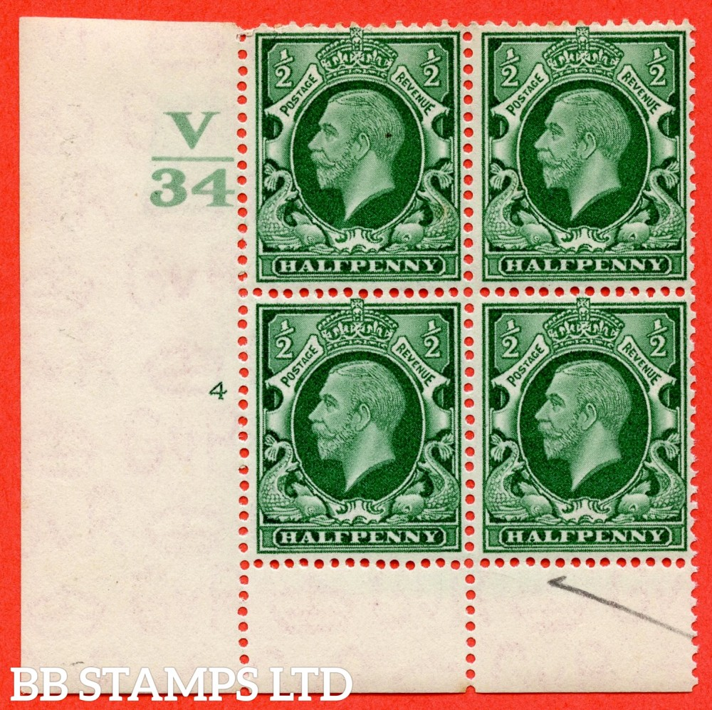 "SG. 439 variety N46 ½d. Green. A superb UNMOUNTED MINT "" Control V34 cylinder 4 no dot "" control block of 6 with perf type 6 (I/P)."