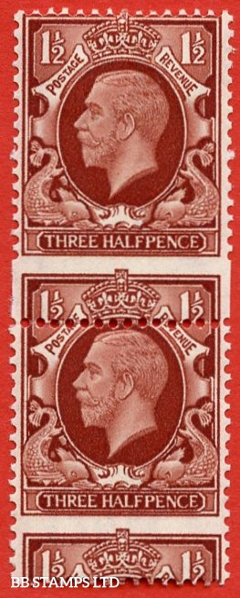 "SG. 441 variety N51a. 1½d Large Format. A super lightly mounted mint vertical pair with a lovely "" Perf ERROR ""."