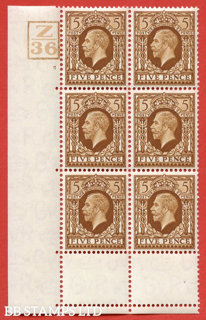 "SG. 446. N59. 5d. A very fine mounted mint block of 6 Control  "" Z36 -- 5 no dot with 4 bars. Perf type 5 E/I. With a very fine "" Perf ERROR "" giving the appearance of perf type 6."