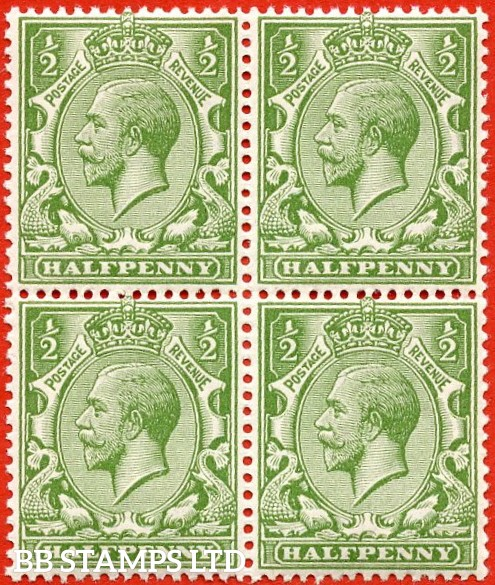 SG. 354. Variety N14 (11). ½d Bright yellow green. A SUPERB unmounted mint block of four.