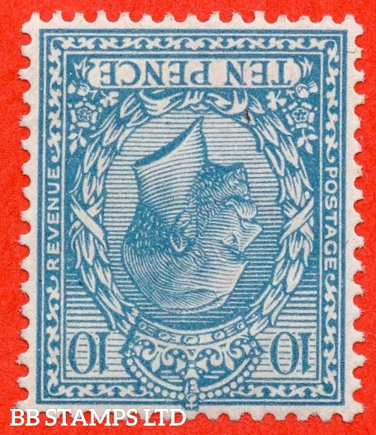 SG. 394 wi. N31 (2) a . 10d Turquoise - Blue. INVERTED WATERMARK. A very fine well centred lightly mounted mint example of this RARE George V watermark variety. Watermark type II.