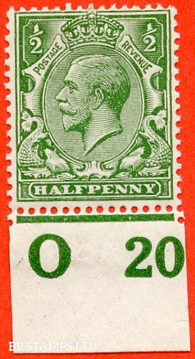 """SG. 351. ½d Green. A fine mounted mint """" O20 imperf """" control single"""
