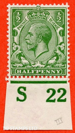 """SG. 351. ½d Green. A fine mounted mint """" S22 imperf """" control single"""