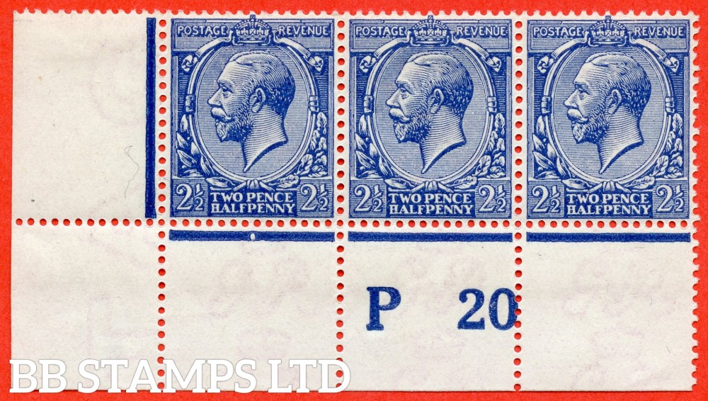 "SG. N21 (16). 2½d Royal blue. A fine mint ( 2 stamps UNMOUNTED MINT ) control "" P20 perf "" strip of 3 of this scarce GV shade variety complete with Hendon certificate."