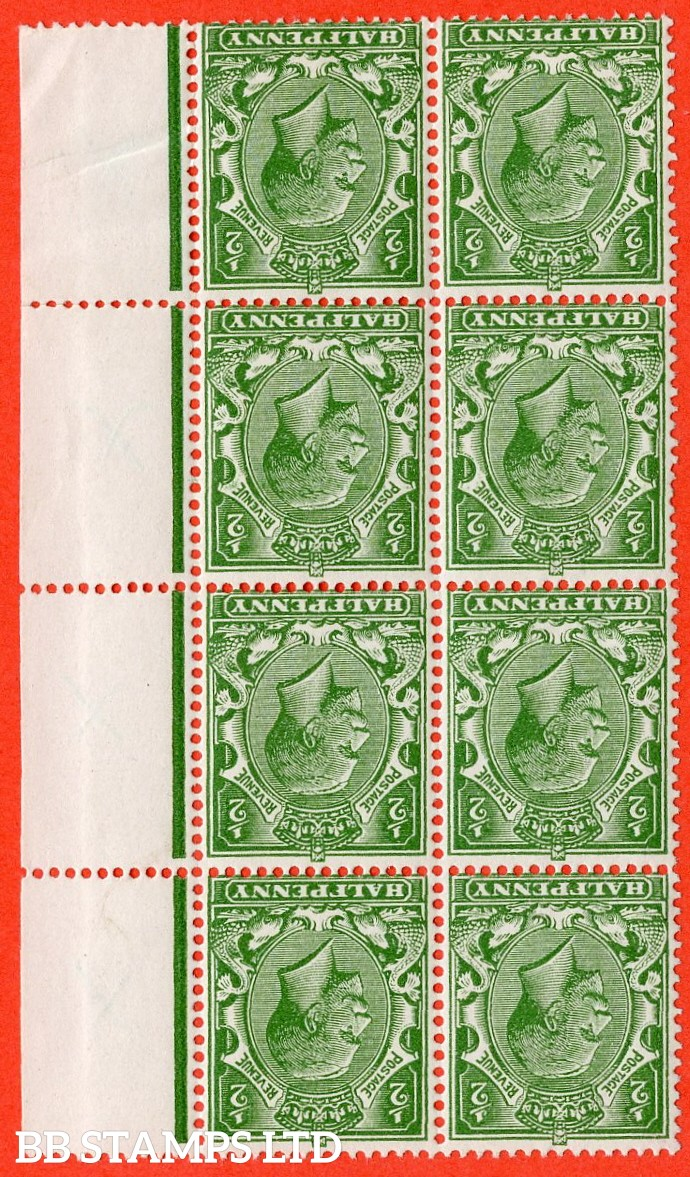 SG. 354 wi. N14 (8) b & c. ½d yellow green. NO WATERMARK & INVERTED WATERMARK. A fine UNMOUNTED MINT right hand marginal block of 8 with all 4 right hand stamps having no watermark.Complete with RPS certificate.