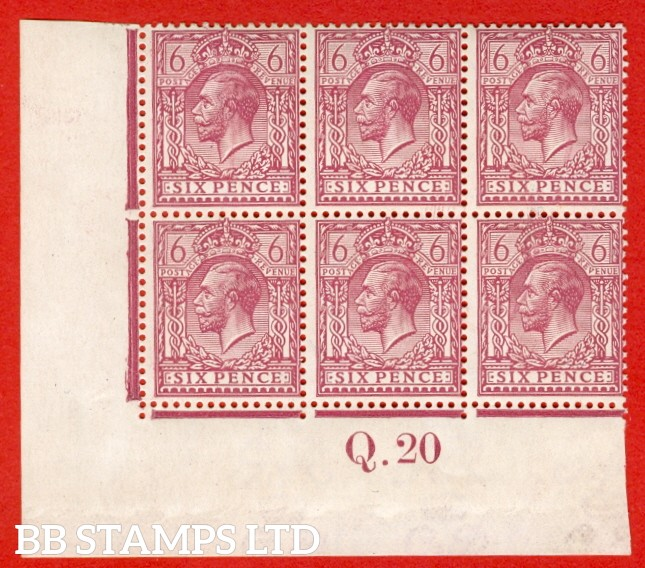 """SG. 385 a. N 26 (3) e. 6d reddish purple. """" Perf. 14 """". A super UNMOUNTED MINT control Q.20 imperf block of 6, perf type 2 and watermark type III."""