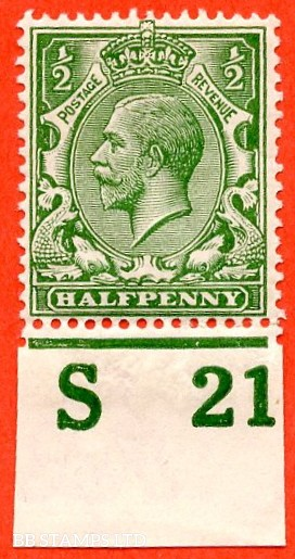 """SG. 351. ½d Green. A fine mounted mint """" S21 imperf """" control single"""