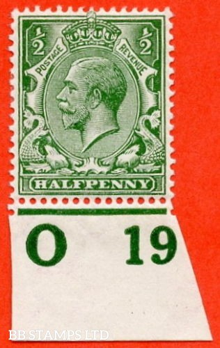 """SG. 351. ½d Green. A fine mounted mint """" O19 imperf """" control single"""