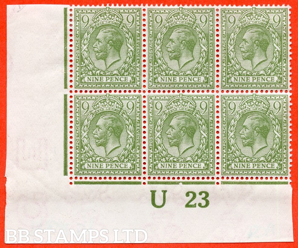"SG. 393b. N30 (2). 9d pale olive green. A superb mint control "" U23 imperf "" corner block of 6. Perf type 2. Plate 3b. Watermark type II and a very scarce block these days."