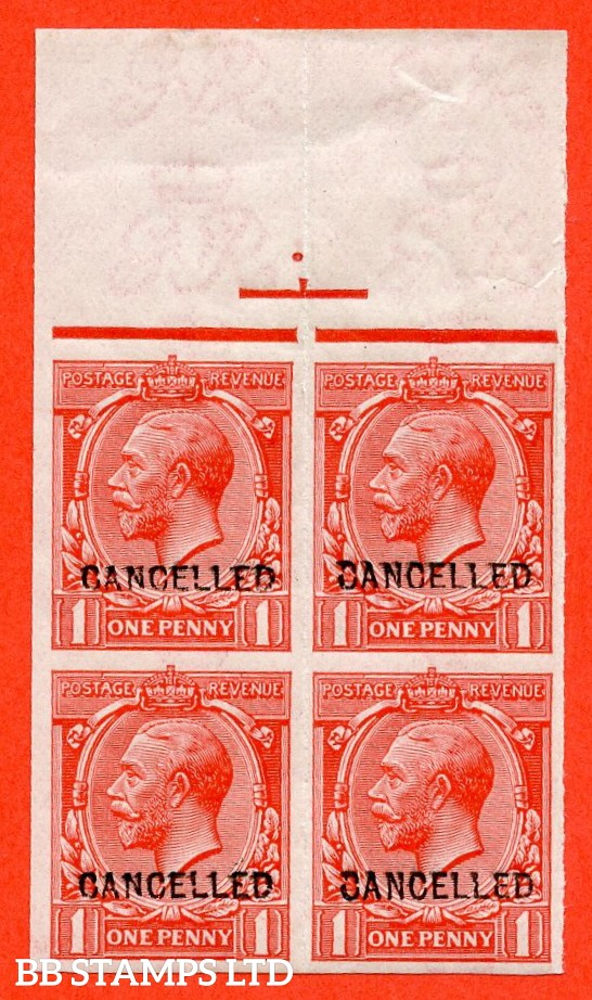 SG. N16 (3) x. 1d Scarlet. A very fine UNMOUNTED MINT imperf marginal block of 4 overprinted CANCELLED type 24.