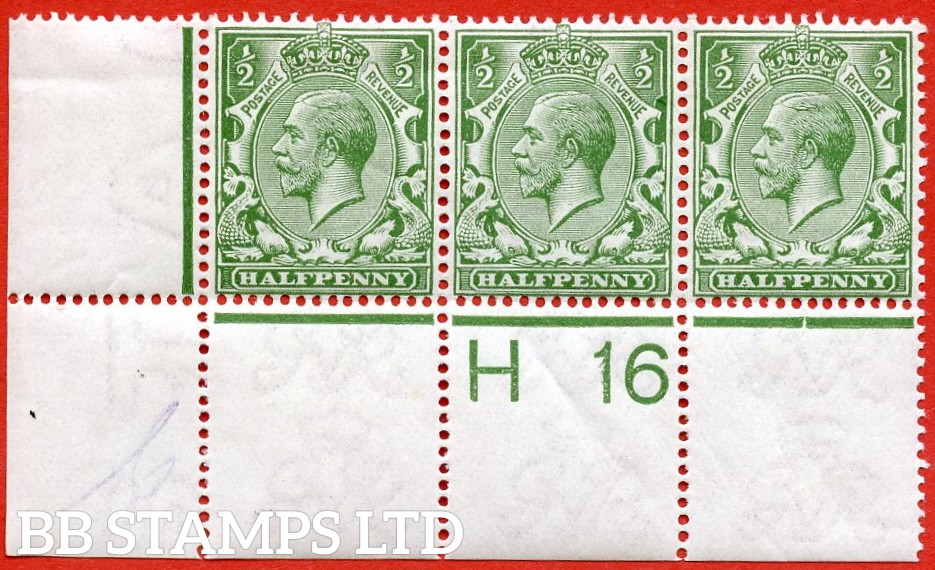 "SG. N14 (13 ). ½d Pale Olive Green. A superb mint control "" H16 perf "" strip of 3 of this scarce George V shade. Perf type 2A and watermark type II."