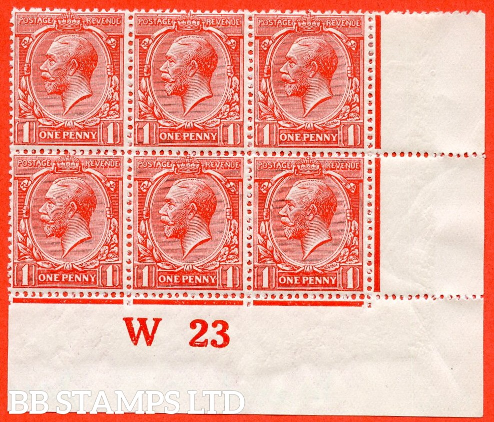 """SG. N16 (3) c. 1d scarlet. REVERSED WATERMARK. A fine mounted mint control """" W23 imperf """" block of 6. A RARE multiple these days."""