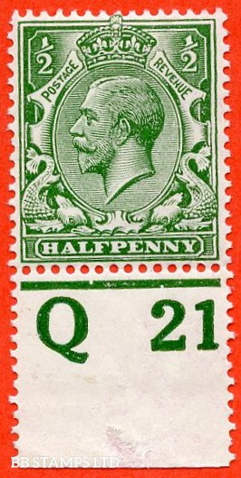 """SG. 351. ½d Green. A fine mounted mint """" Q21 perf """" control single"""