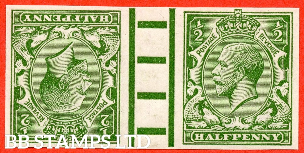 SG. 351. N14 (1). ½d Green. A superb UNMOUNTED MINT tete-beche gutter pair of IMPRIMATURS with marginal pillars both backstamped ' BPMA '. A RARE pair currently catalogued @ £20,000.00..