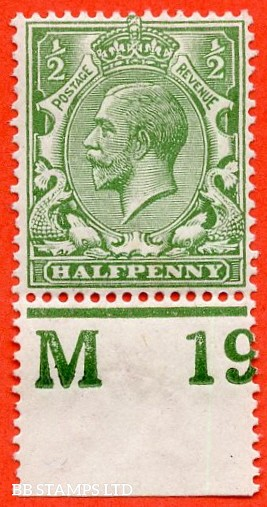 """SG. 351. ½d Green. A fine mounted mint """" M19 perf """" control single"""