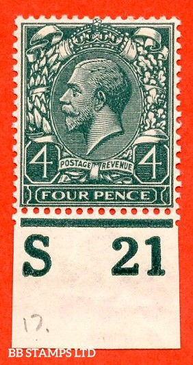 """SG. 379. 4d Grey-Green. A fine mounted mint """" S21 imperf """" control single"""