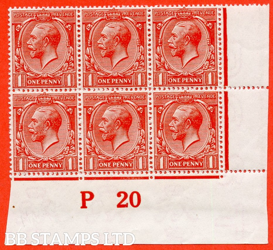 "SG. 361. N16 (14 ). 1d Scarlet - Vermilion. A super UNMOUNTED MINT control "" P20 imperf "" block of 6. Perf type 2 and complete with RPS certificate."