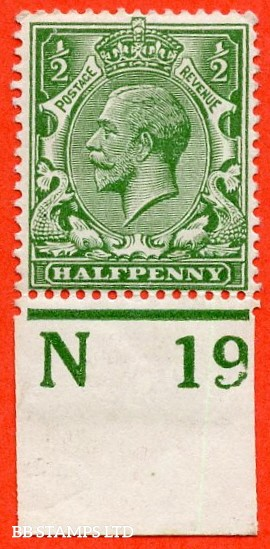 """SG. 351. ½d Green. A fine mounted mint """" N19 imperf """" control single"""