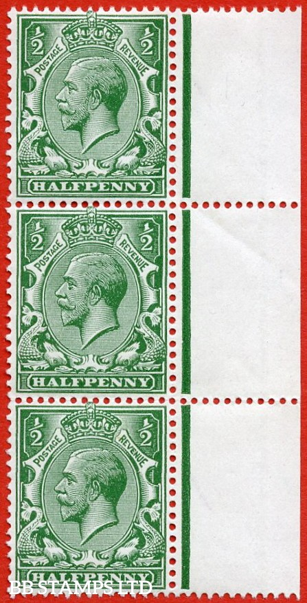 """SG. 356. N14 (14) b. ½d blue green. """" NO WATERMARK. A superb UNMOUNTED MINT right hand marginal vertical strip of 3 complete with RPS certificate."""