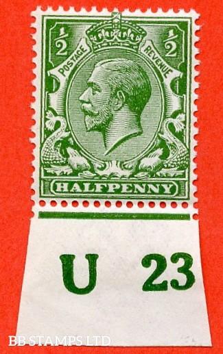 "SG. 351. ½d Green. A fine mounted mint "" U23 imperf "" control single"