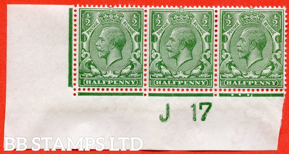 """SG. 351. N14 (1) n. ½d Green. A fine UNMOUNTED MINT control """" J17 imperf """" strip of 3 from plate 36b with the  listed variety """" Solid shading to left of ' HALFPENNY ' ( Pl.36b row 20/1 ) """". Watermark type II."""