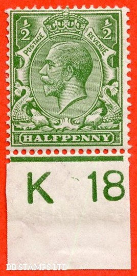 """SG. 351. ½d Green. A fine mounted mint """" K18 imperf """" control single"""