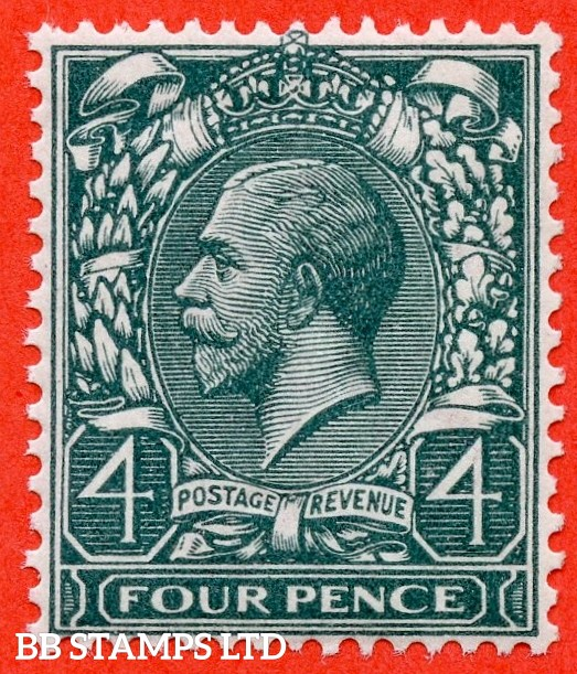 SG. N23 ( UNLISTED ). 4d Bluish Slate Green. A superb UNMOUNTED MINT example of this known but unlisted by SG. George V shade variety complete with HENDON certificate.