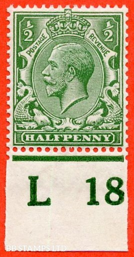 """SG. 351. ½d Green. A fine mounted mint """" L18 imperf """" control single"""