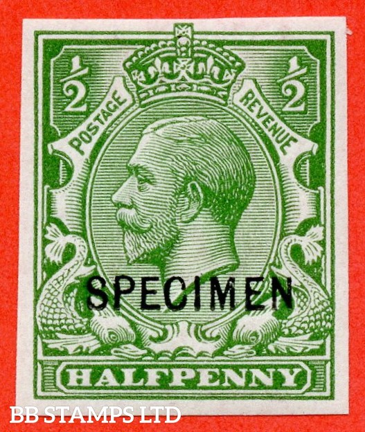 SG. 351. N14 (1) u. ½d Green. A very fine lightly mounted mint imperf example overprinted by SPECIMEN type 26.