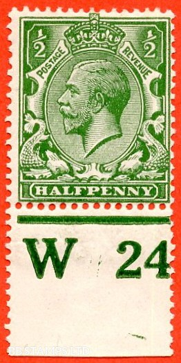 """SG. 351. ½d Green. A fine mounted mint """" W24 perf """" control single"""