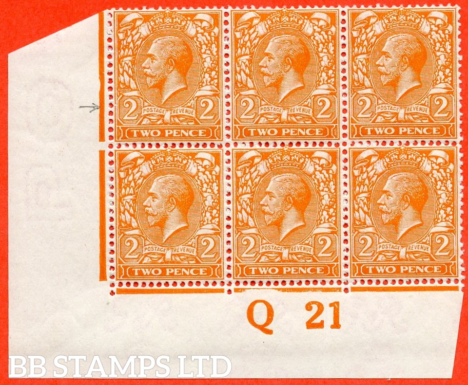 """SG. 369. N19 (7) f. 2d Bright orange. Die I.  A very fine UNMOUNTED MINT control """" Q21 imperf """" block of 6 with the scarce listed variety """" Broken frame at left. Plate 14 row 19/1 """"."""