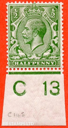 """SG. 351. ½d Green. A fine mounted mint """" C13 imperf """" control single."""