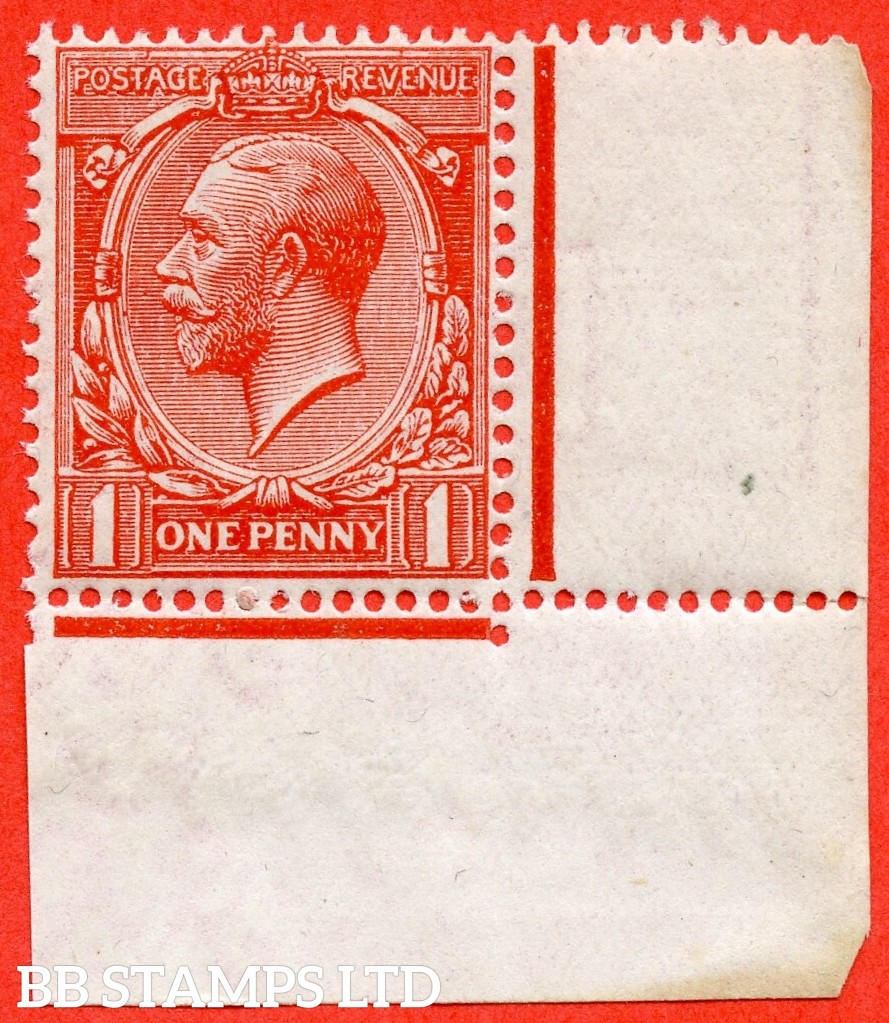 SG. N16 (15). 1d Orange - Vermilion. A very fine UNMOUNTED MINT bottom right hand corner marginal example of this scarce shade complete with RPS certificate.