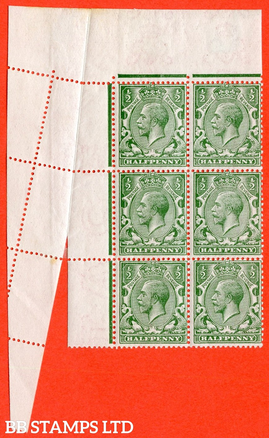 "SG. 351 N14 (1). ½d green. A superb mint top left corner block of six with a very fine and visual  "" PAPER FOLD ERROR "". Watermark type III."