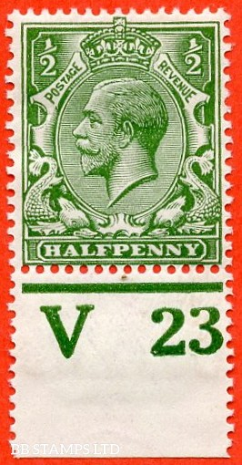 """SG. 351. ½d Green. A fine mounted mint """" V23 perf """" control single"""