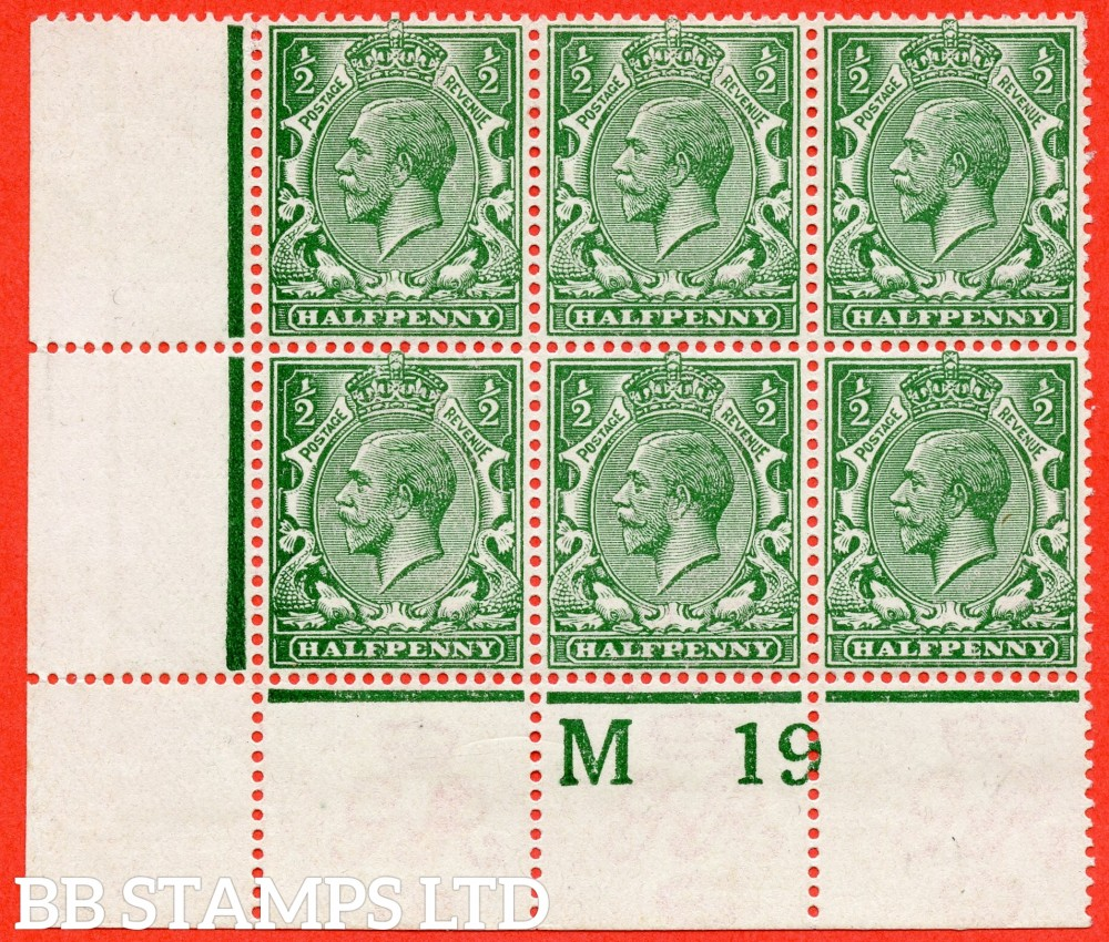 "SG. 356. N14 (14) n. ½d Blue Green. A fine mounted mint control "" M19 perf "" block of 6 from plate 36b with the  listed variety "" Solid shading to left of ' HALFPENNY ' ( Pl.36b row 20/1 ) ""."
