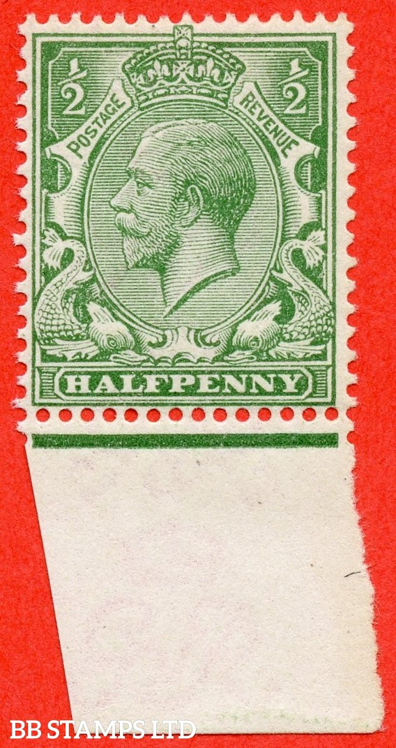 SG. 353 variety N14 (4). 1/2d very pale green. A very fine UNMOUNTED MINT bottom marginal example of this scarce George V shade complete with Hendon certificate.