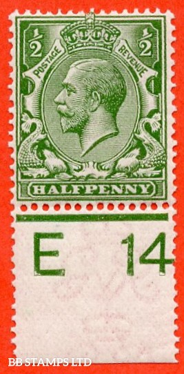 "SG. 351. ½d Green. A fine mounted mint "" E14 perf "" control single."