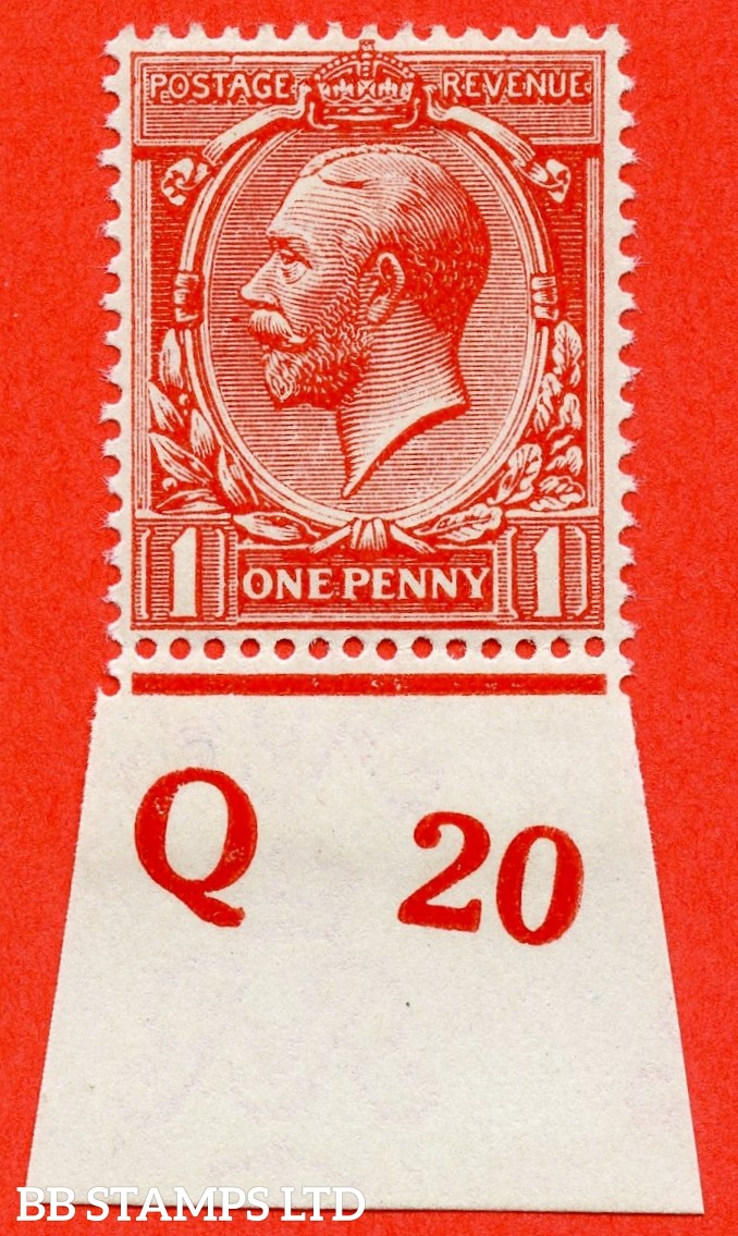 """SG. N16 ( UNLISTED ). 1d deep vermilion. A fine UNMOUNTED MINT control """" Q20 imperf """" example of this known but unlisted by SG George V shade variety. Complete with Hendon certificate."""
