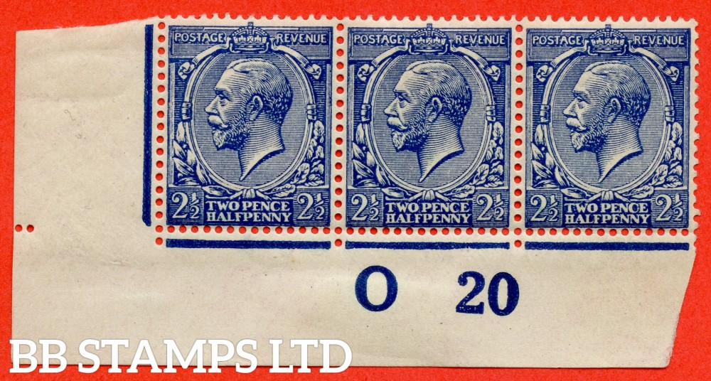"""SG. 373 variety N21 (15). 2½d Indigo Blue ( toned paper ). A superb UNMOUNTED MINT control """" O20 imperf """" strip of 3 of this VERY RARE George V shade complete with BPA certificate."""