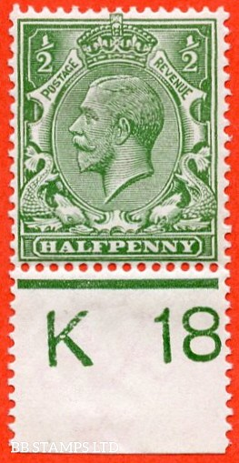 """SG. 351. N14 (1) k. ½d Green. A very fine mounted mint control """" K18 perf """" example. Clearly showing the listed variety """" coloured mark on right dolphins eye ( row 20/2 ). """""""