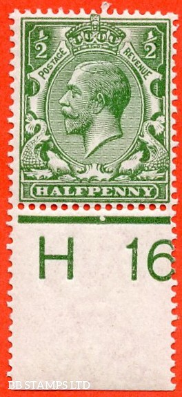 """SG. 351. ½d Green. A fine mounted mint """" H16 perf """" control single."""