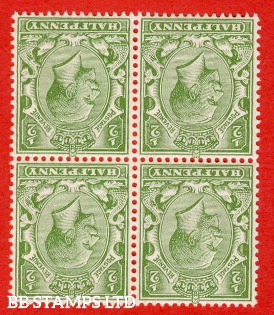 SG. N14 (13 ) e. ½d Pale Olive Green. A superb UNMOUNTED MINT block of  four of this scarce George V shade. Inverted & reversed watermark.
