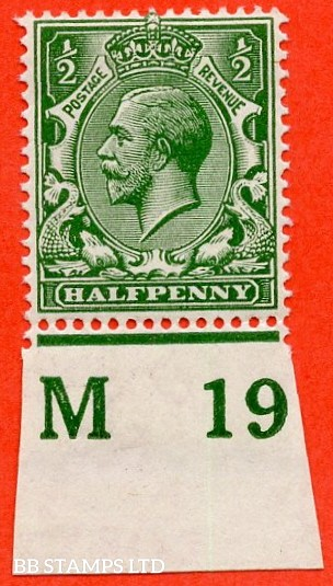 """SG. 351. ½d Green. A fine mounted mint """" M19 imperf """" control single"""