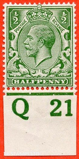 """SG. 351. ½d Green. A fine mounted mint """" Q21 imperf """" control single"""