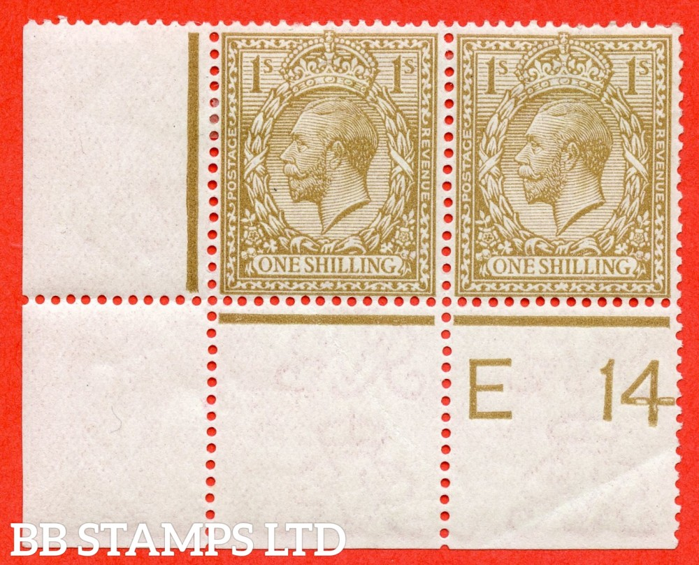 "SG. 395 variety N32 (2). 1/- pale bistre brown. A fine mounted mint control "" E14 perf "" bottom left hand corner marginal horizontal pair of this the RAREST of the 1/- controls. Perf type 2A and watermark type III."