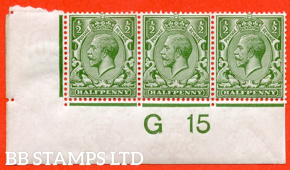 "SG. N14 (13). ½d Pale Olive Green. A very fine UNMOUNTED MINT control "" G15 imperf "" strip of 3. Perf type 2 and complete with RPS certificate."